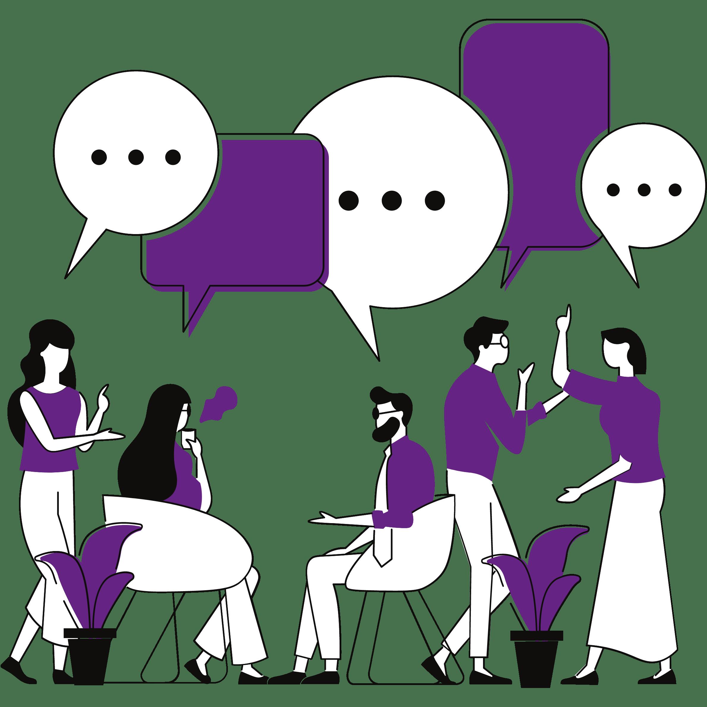 Mehrere Personen unterhalten sich